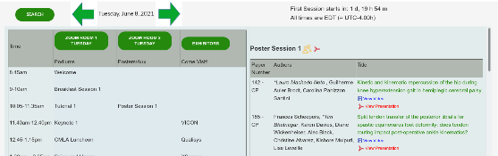 Detailed view of schedule for poster session